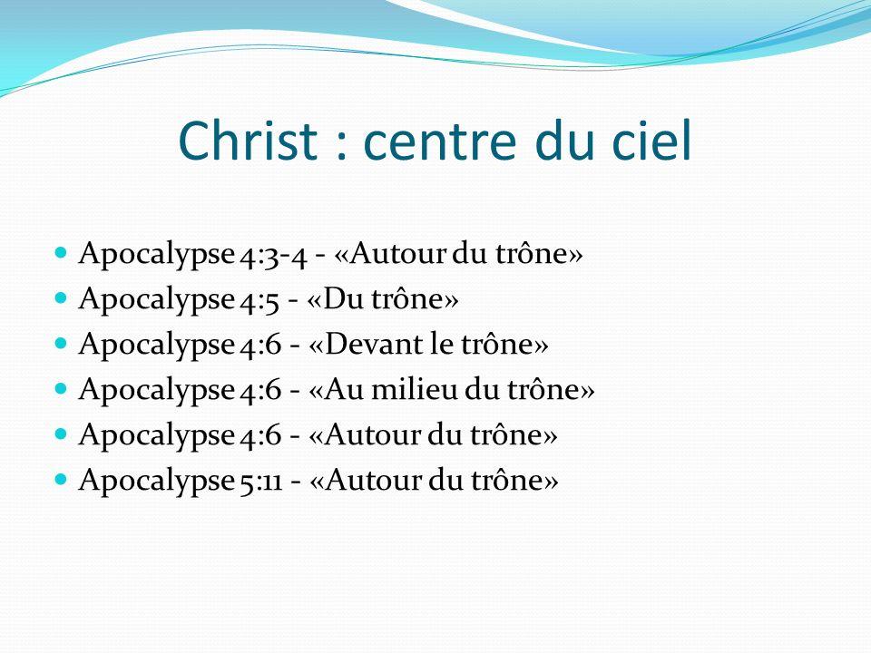 Christ : centre du ciel Apocalypse 4:3-4 - «Autour du trône» Apocalypse 4:5 - «Du trône» Apocalypse 4:6 - «Devant le trône» Apocalypse 4:6 - «Au milie