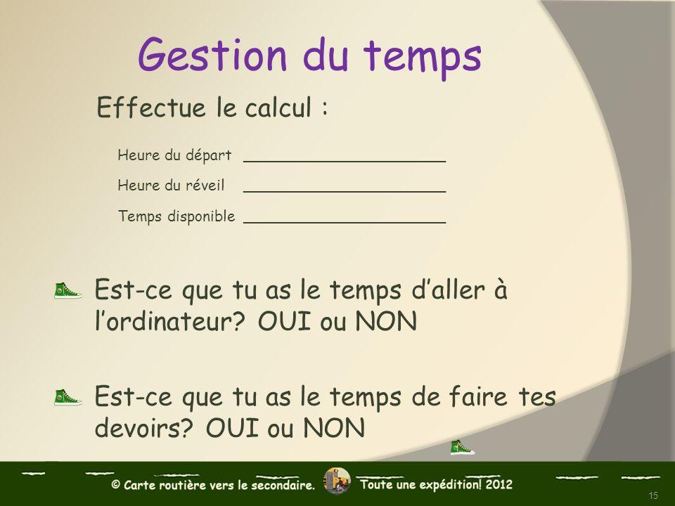 Effectue le calcul : Heure du départ ______________________ Heure du réveil ______________________ Temps disponible______________________ Est-ce que t