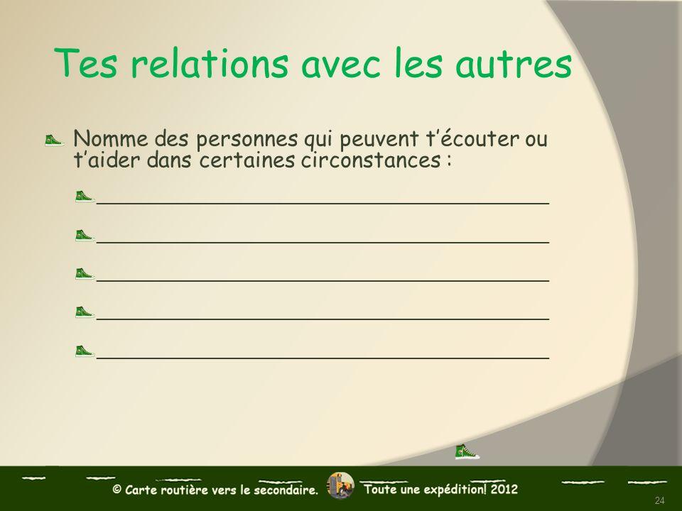 Tes relations avec les autres Nomme des personnes qui peuvent técouter ou taider dans certaines circonstances : ______________________________________