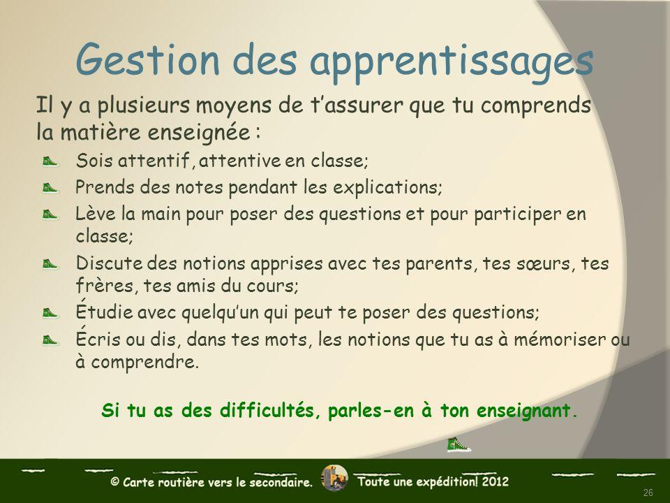 Gestion des apprentissages Il y a plusieurs moyens de tassurer que tu comprends la matière enseignée : Sois attentif, attentive en classe; Prends des