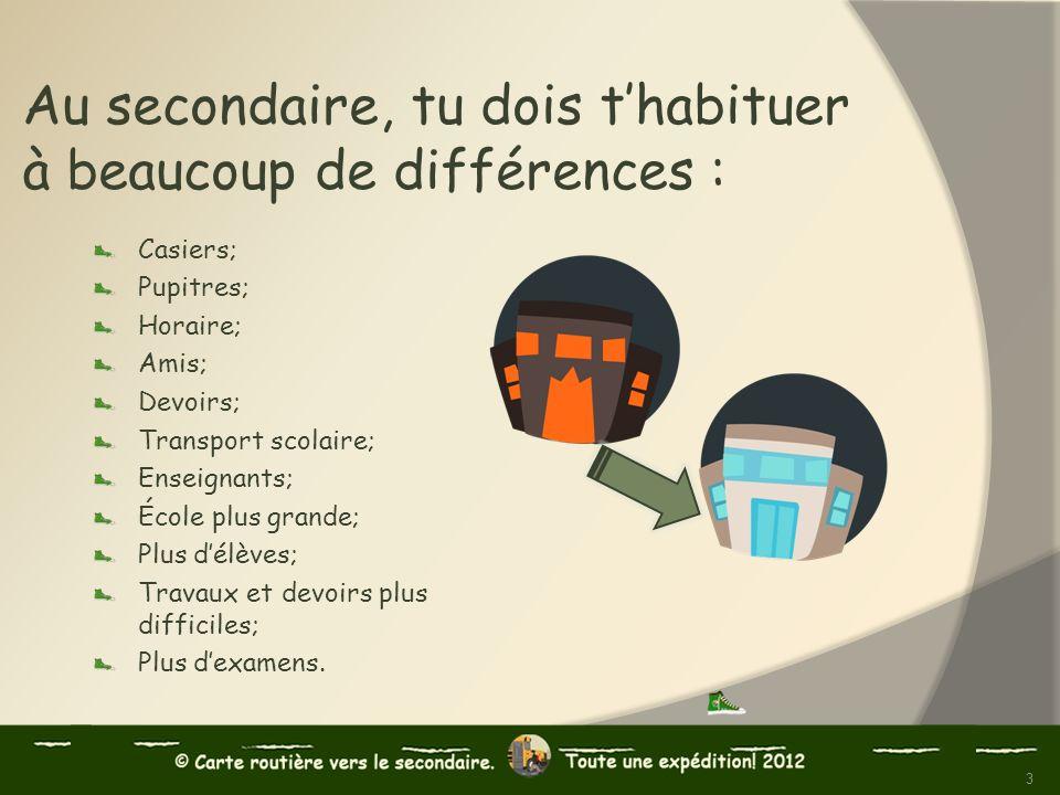 Au secondaire, tu dois thabituer à beaucoup de différences : Casiers; Pupitres; Horaire; Amis; Devoirs; Transport scolaire; Enseignants; École plus gr
