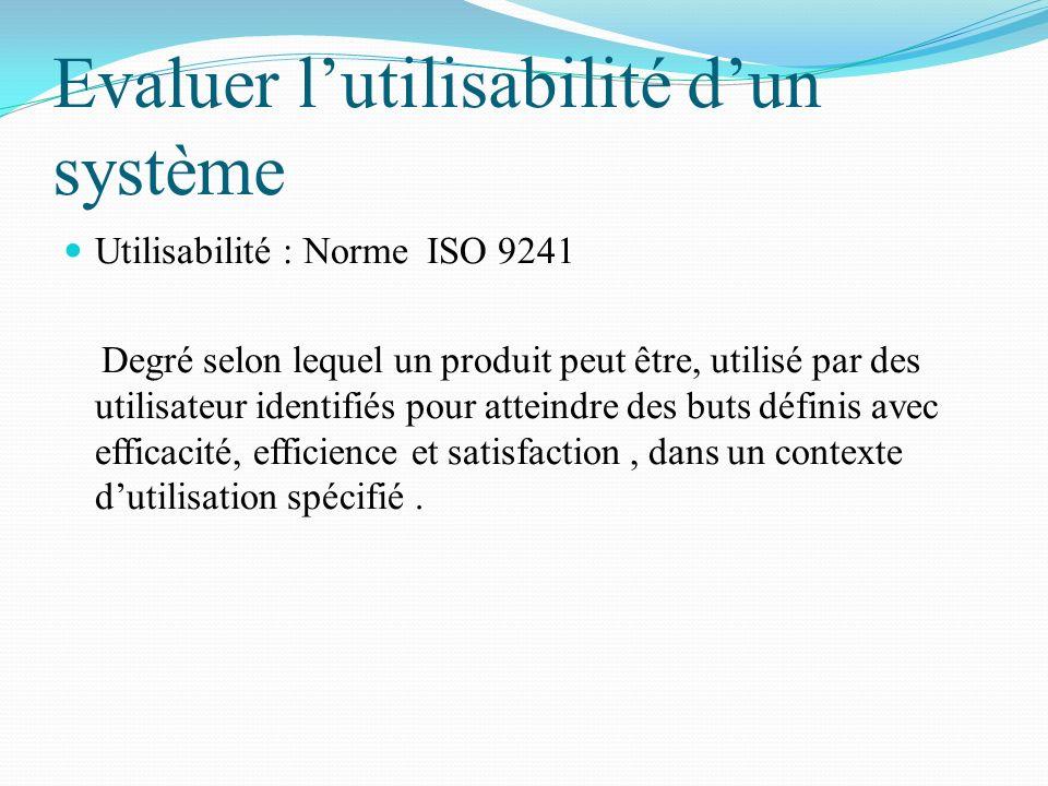 Evaluer lutilisabilité dun système Utilisabilité : Norme ISO 9241 Degré selon lequel un produit peut être, utilisé par des utilisateur identifiés pour