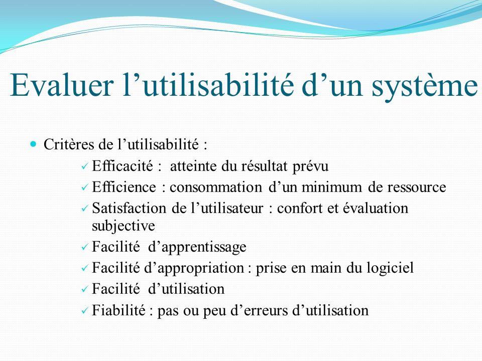 Evaluer lutilisabilité dun système Critères de lutilisabilité : Efficacité : atteinte du résultat prévu Efficience : consommation dun minimum de resso