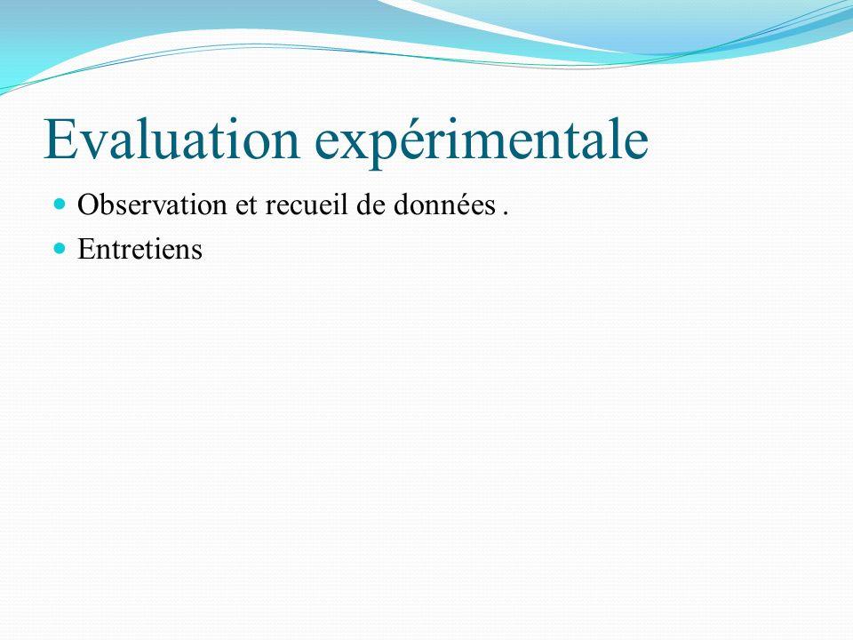 Evaluation expérimentale Observation et recueil de données. Entretiens
