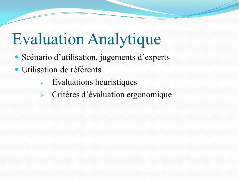 Evaluation Analytique Scénario dutilisation, jugements dexperts Utilisation de référents Evaluations heuristiques Critères dévaluation ergonomique