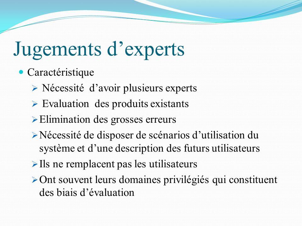 Jugements dexperts Caractéristique Nécessité davoir plusieurs experts Evaluation des produits existants Elimination des grosses erreurs Nécessité de d