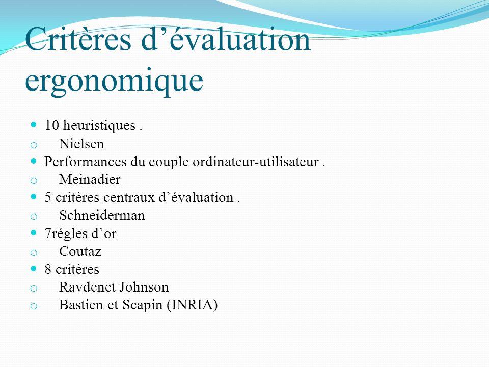 Critères dévaluation ergonomique 10 heuristiques. o Nielsen Performances du couple ordinateur-utilisateur. o Meinadier 5 critères centraux dévaluation