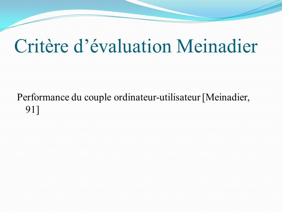 Critère dévaluation Meinadier Performance du couple ordinateur-utilisateur [Meinadier, 91]