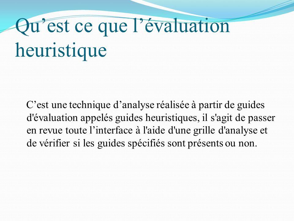 Quest ce que lévaluation heuristique Cest une technique danalyse réalisée à partir de guides d'évaluation appelés guides heuristiques, il s'agit de pa