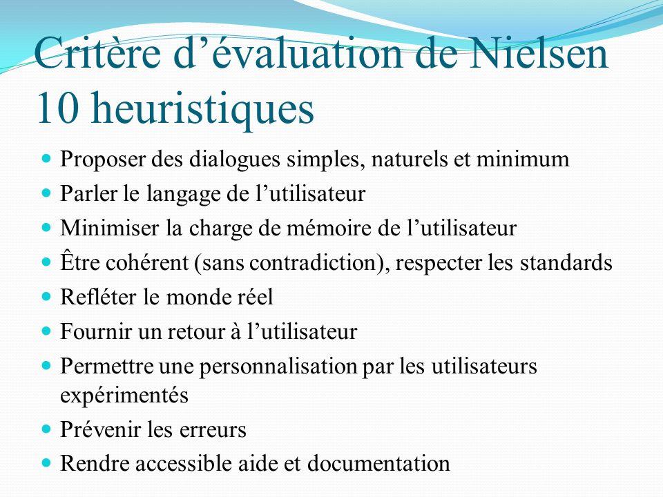 Critère dévaluation de Nielsen 10 heuristiques Proposer des dialogues simples, naturels et minimum Parler le langage de lutilisateur Minimiser la char