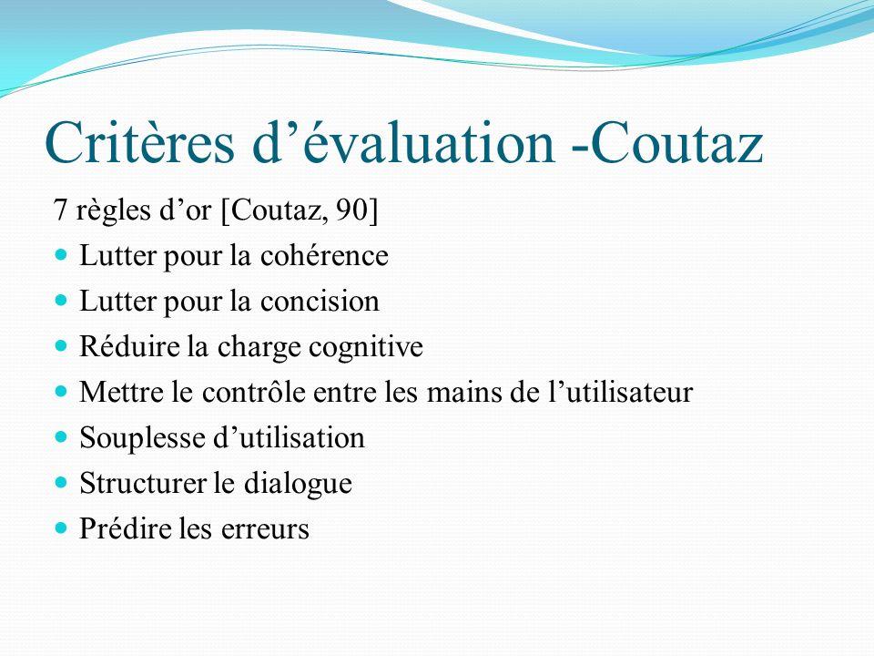Critères dévaluation -Coutaz 7 règles dor [Coutaz, 90] Lutter pour la cohérence Lutter pour la concision Réduire la charge cognitive Mettre le contrôl