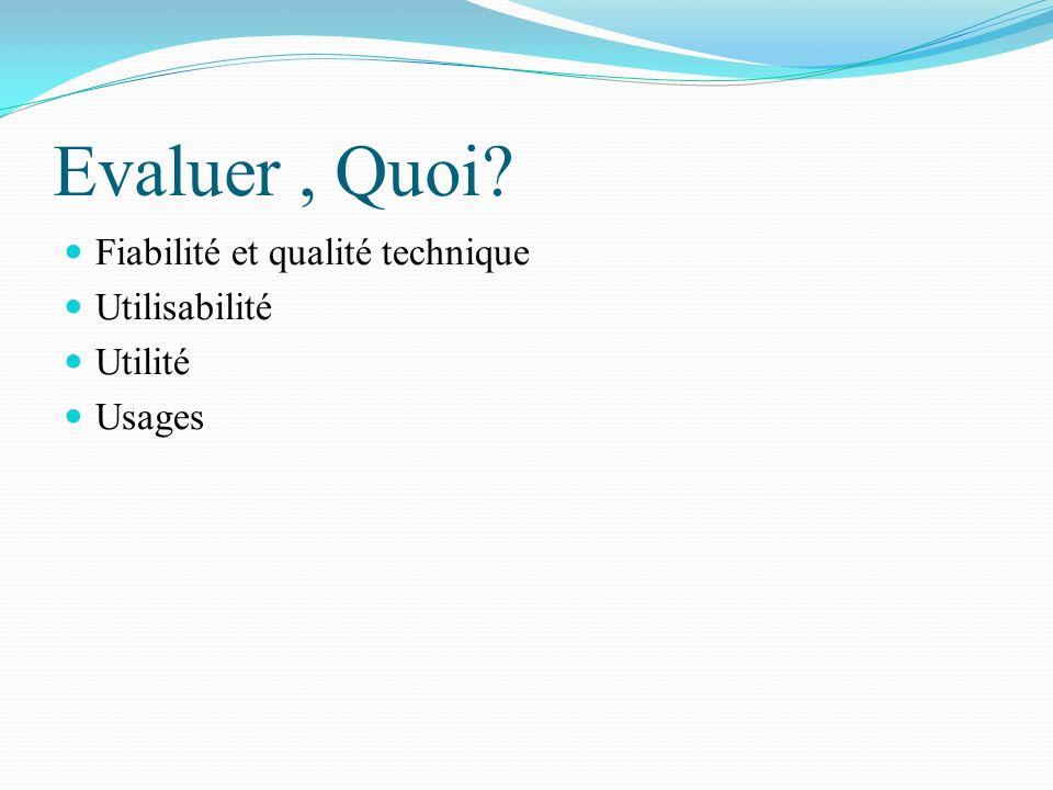 Evaluer, Quoi? Fiabilité et qualité technique Utilisabilité Utilité Usages