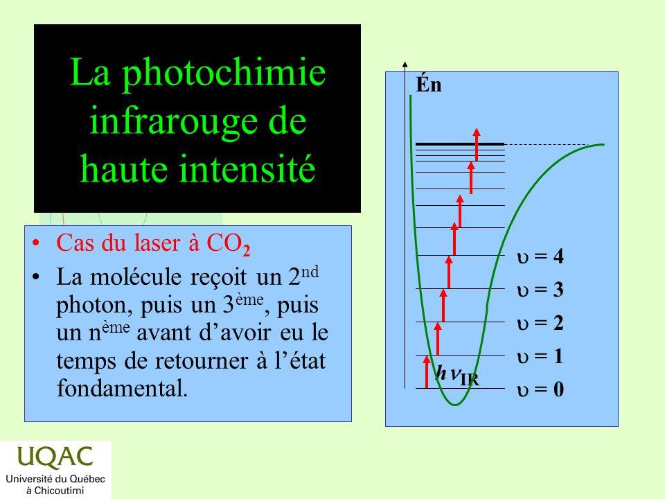 réactifs produits énergie temps La photochimie ultraviolette Loi dEINSTEIN : En intensité normale, une molécule absorbe un photon UV et le photon est complètement absorbé, (re : règles de conservation).