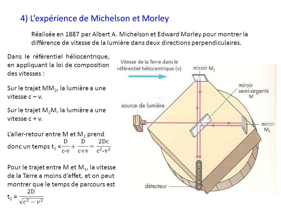 4) Lexpérience de Michelson et Morley Vitesse de la Terre dans le référentiel héliocentrique (v) Réalisée en 1887 par Albert A. Michelson et Edward Mo