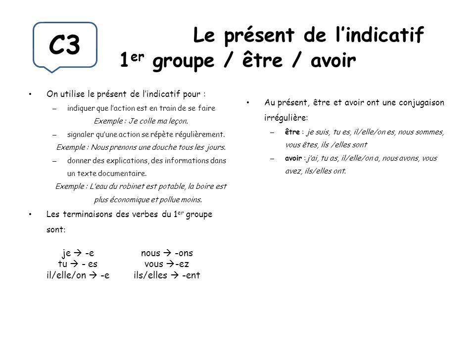 Le présent de lindicatif 1 er groupe / être / avoir On utilise le présent de lindicatif pour : – indiquer que laction est en train de se faire Exemple