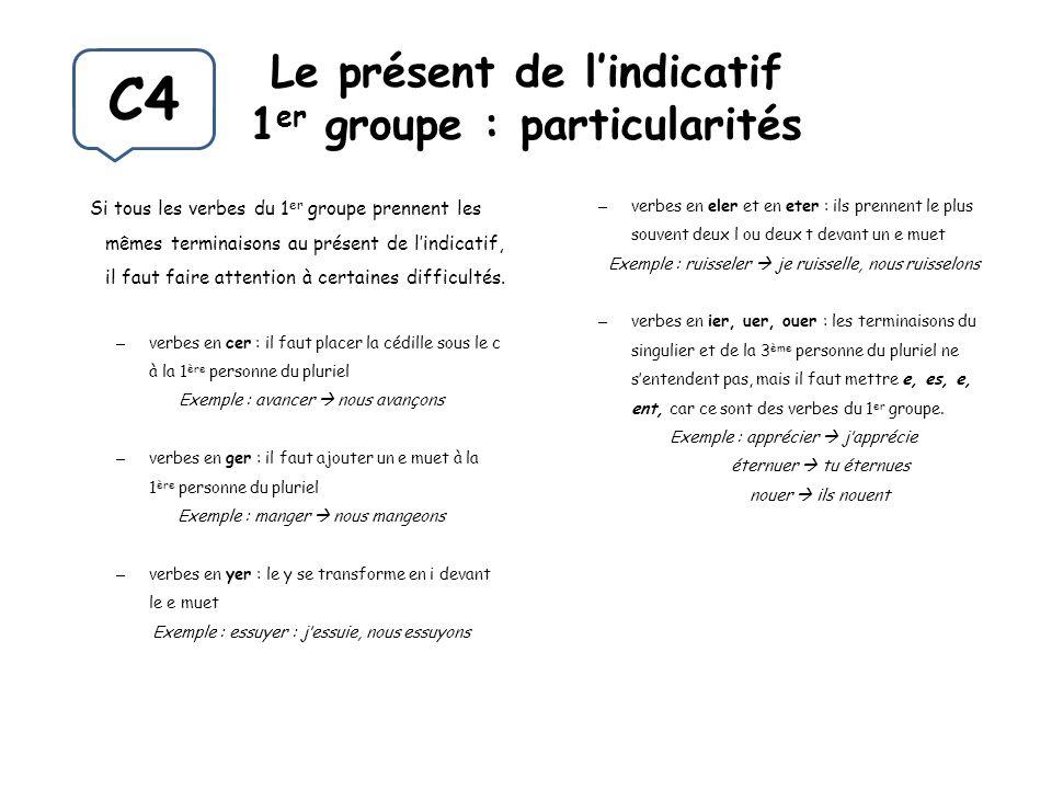 Le présent de lindicatif 1 er groupe : particularités Si tous les verbes du 1 er groupe prennent les mêmes terminaisons au présent de lindicatif, il f