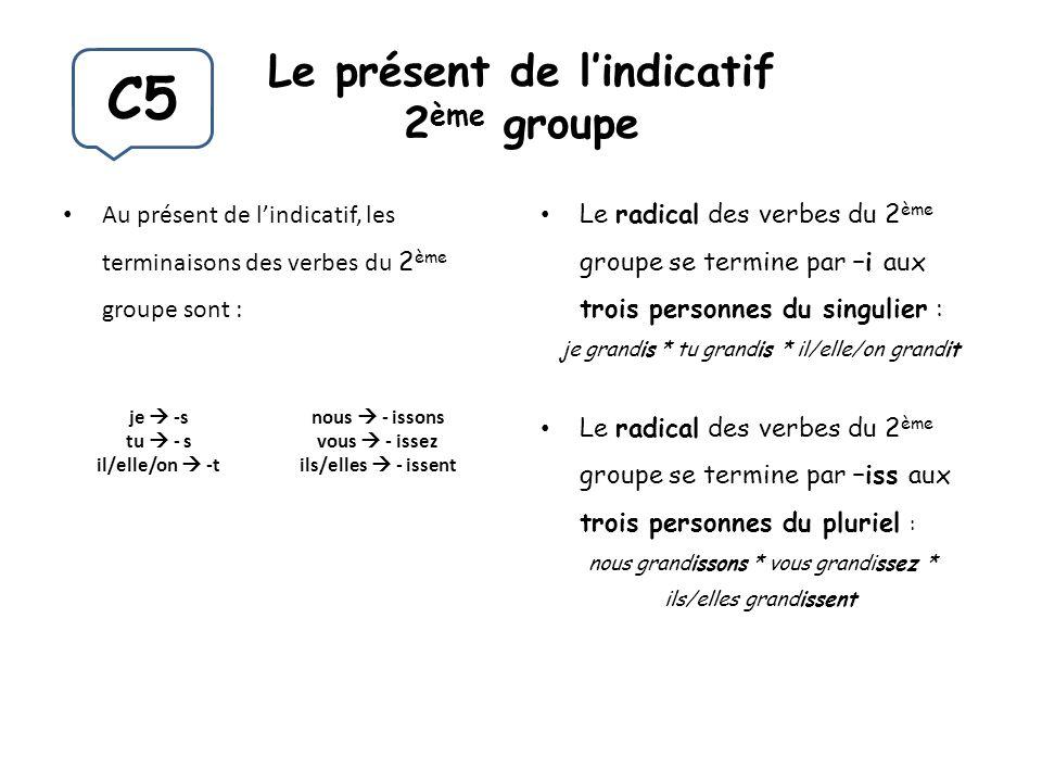 Le présent de lindicatif 2 ème groupe Au présent de lindicatif, les terminaisons des verbes du 2 ème groupe sont : Le radical des verbes du 2 ème grou