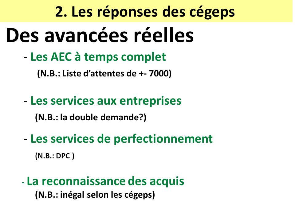2. Les réponses des cégeps Des avancées réelles - Les AEC à temps complet (N.B.: Liste dattentes de +- 7000) - Les services aux entreprises (N.B.: la