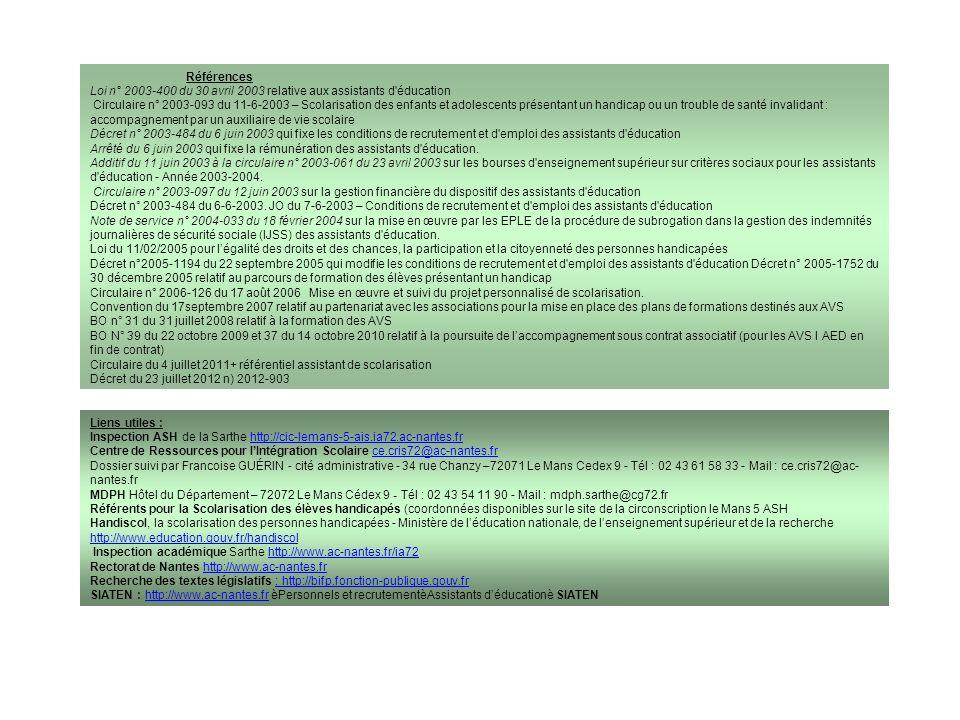 Références Loi n° 2003-400 du 30 avril 2003 relative aux assistants d'éducation Circulaire n° 2003-093 du 11-6-2003 – Scolarisation des enfants et ado