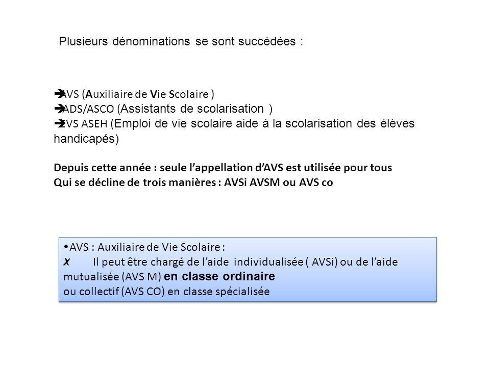 AVS (Auxiliaire de Vie Scolaire ) ADS/ASCO ( Assistants de scolarisation ) EVS ASEH ( Emploi de vie scolaire aide à la scolarisation des élèves handic