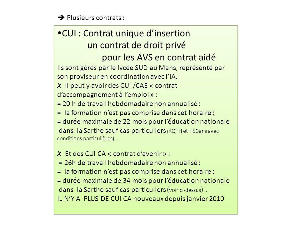 CUI : Contrat unique dinsertion un contrat de droit privé pour les AVS en contrat aidé Ils sont gérés par le lycée SUD au Mans, représenté par son pro