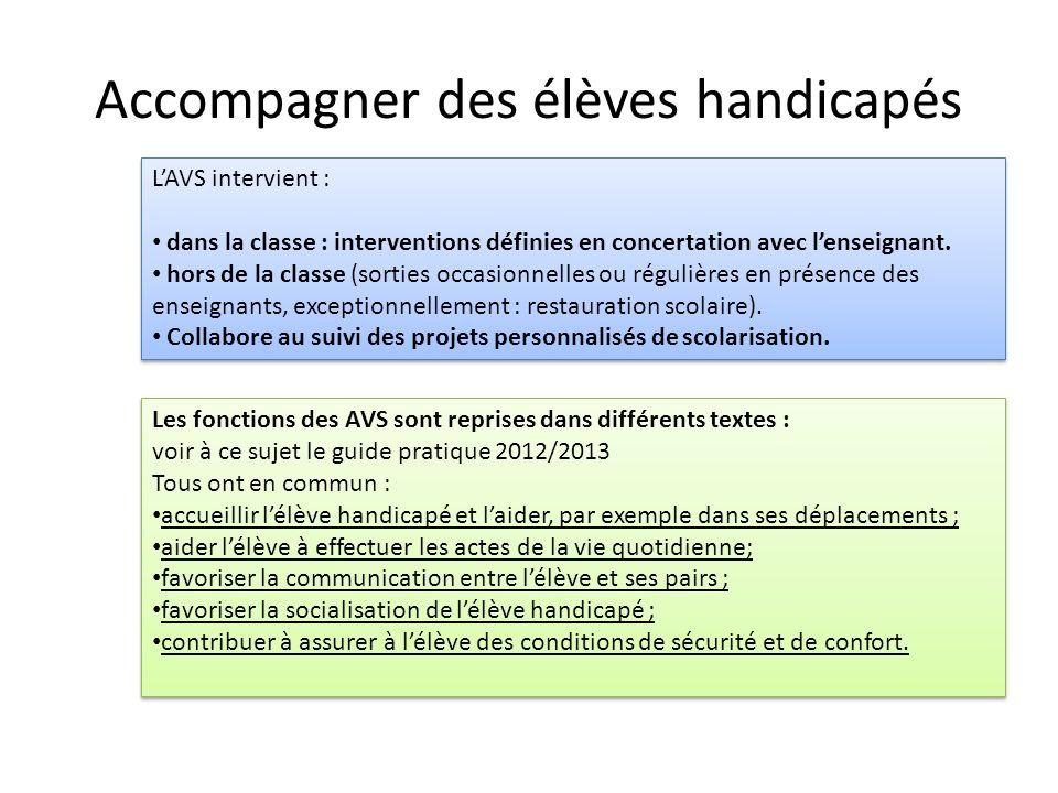 Accompagner des élèves handicapés LAVS intervient : dans la classe : interventions définies en concertation avec lenseignant. hors de la classe (sorti