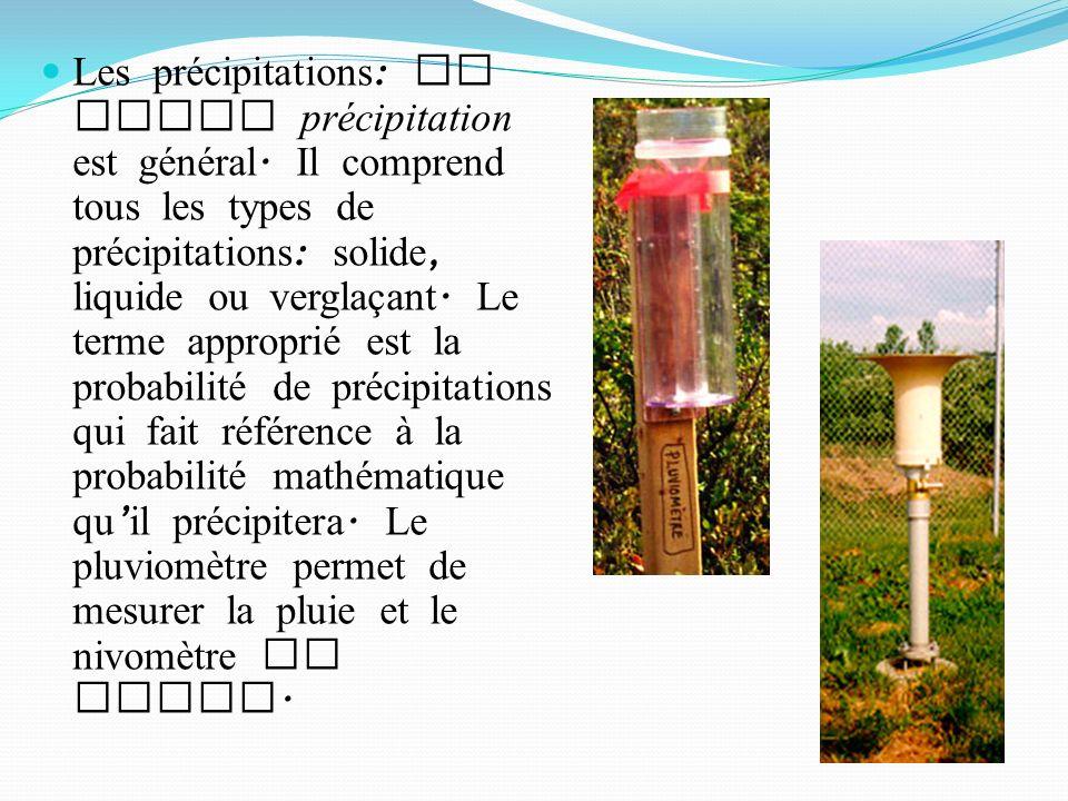 Les précipitations : Le terme précipitation est général.