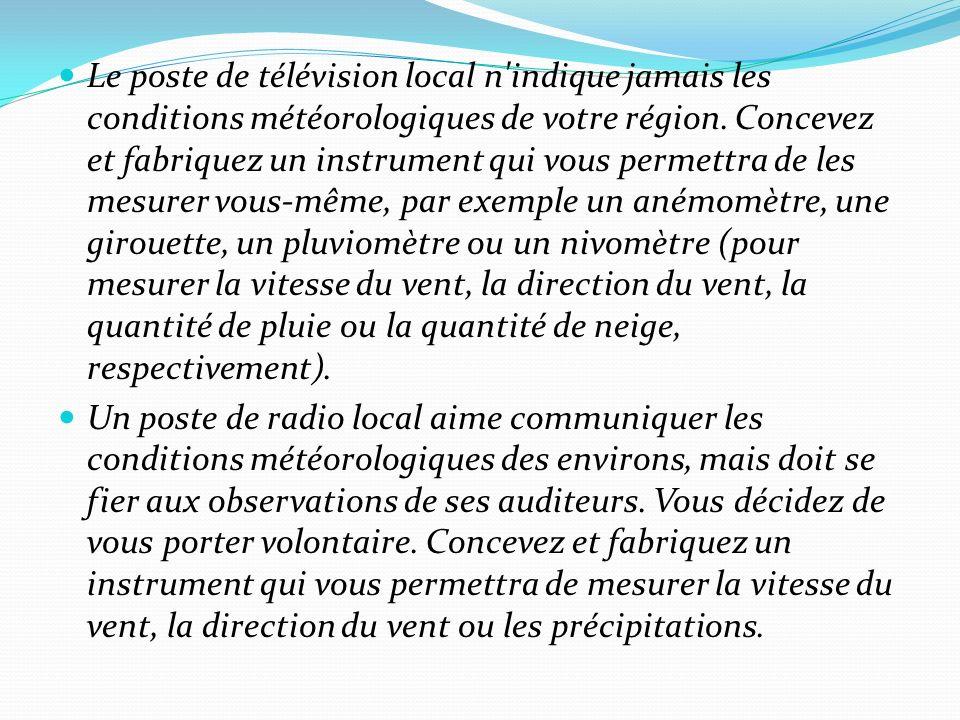 Le poste de télévision local n indique jamais les conditions météorologiques de votre région.