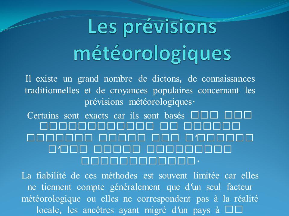 Il existe un grand nombre de dictons, de connaissances traditionnelles et de croyances populaires concernant les prévisions météorologiques.