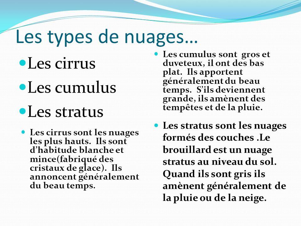 Les types de nuages… Les cirrus Les cumulus Les stratus Les cumulus sont gros et duveteux, il ont des bas plat.