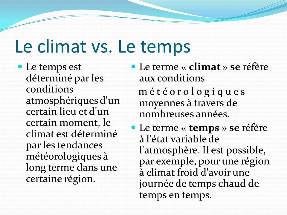 Le climat vs.