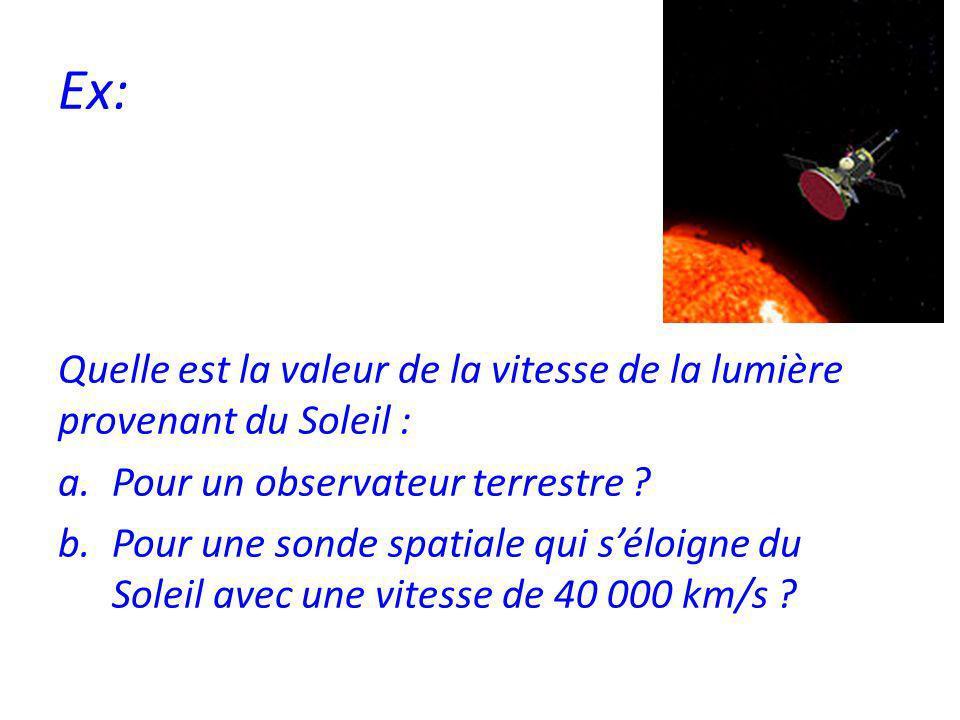 Ex: Quelle est la valeur de la vitesse de la lumière provenant du Soleil : a.Pour un observateur terrestre .