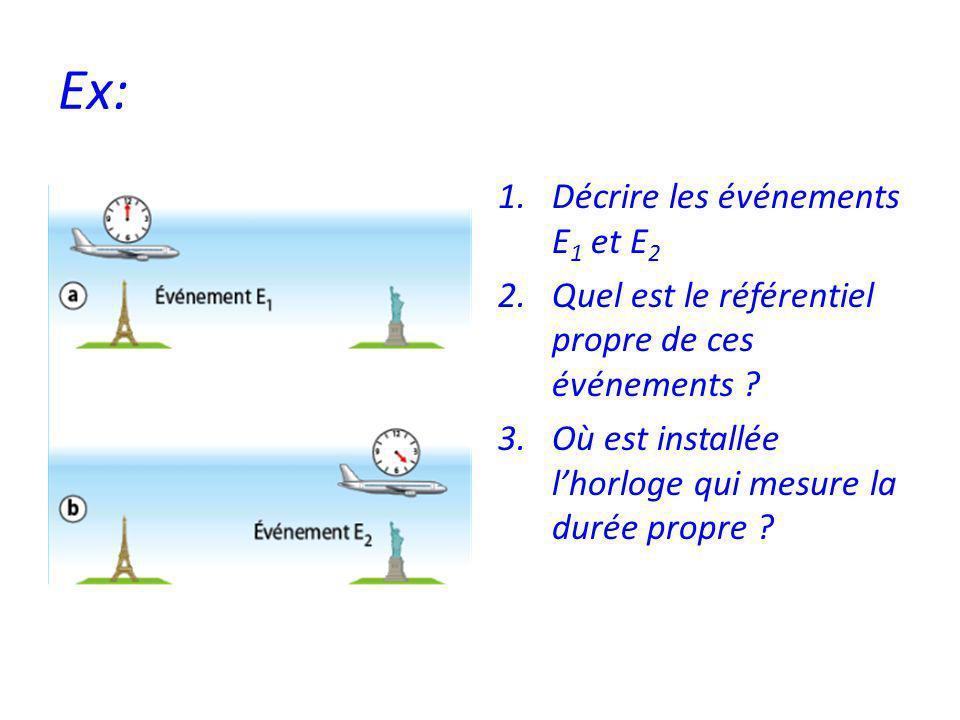 Ex: 1.Décrire les événements E 1 et E 2 2.Quel est le référentiel propre de ces événements .