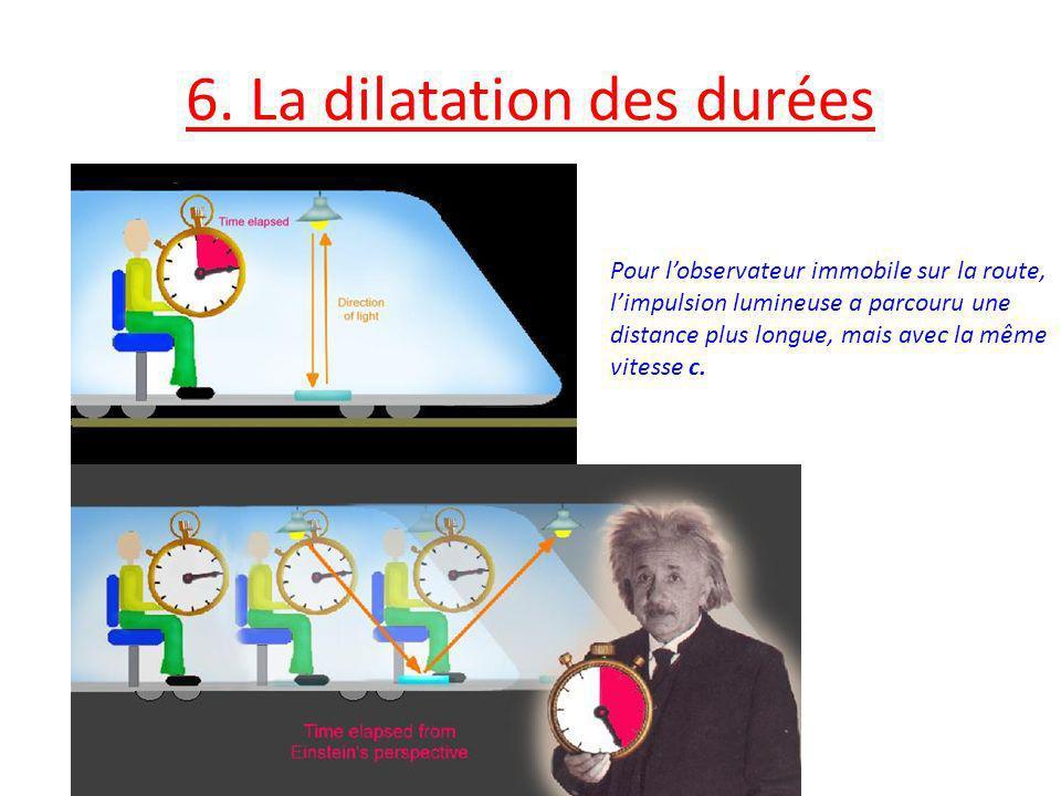 6. La dilatation des durées Pour lobservateur immobile sur la route, limpulsion lumineuse a parcouru une distance plus longue, mais avec la même vites