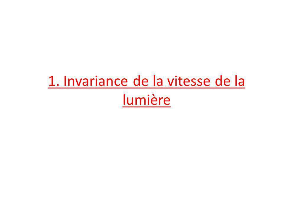 1. Invariance de la vitesse de la lumière