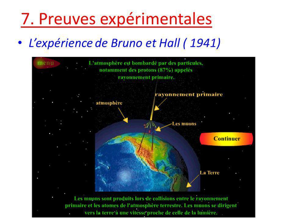 7. Preuves expérimentales Lexpérience de Bruno et Hall ( 1941)