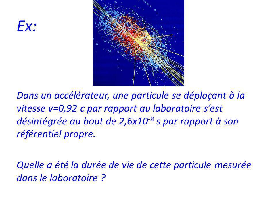 Ex: Dans un accélérateur, une particule se déplaçant à la vitesse v=0,92 c par rapport au laboratoire sest désintégrée au bout de 2,6x10 -8 s par rapport à son référentiel propre.