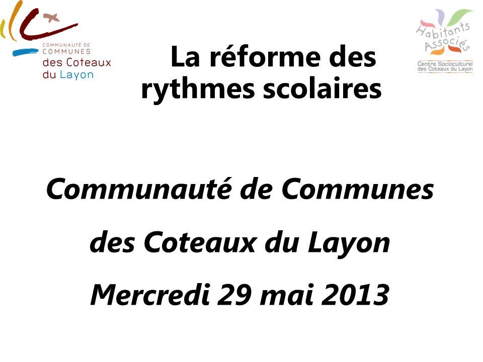 La réforme des rythmes scolaires à lécole primaire Communauté de Communes des Coteaux du Layon Mercredi 29 mai 2013