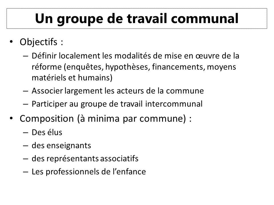 Un groupe de travail communal Objectifs : – Définir localement les modalités de mise en œuvre de la réforme (enquêtes, hypothèses, financements, moyen