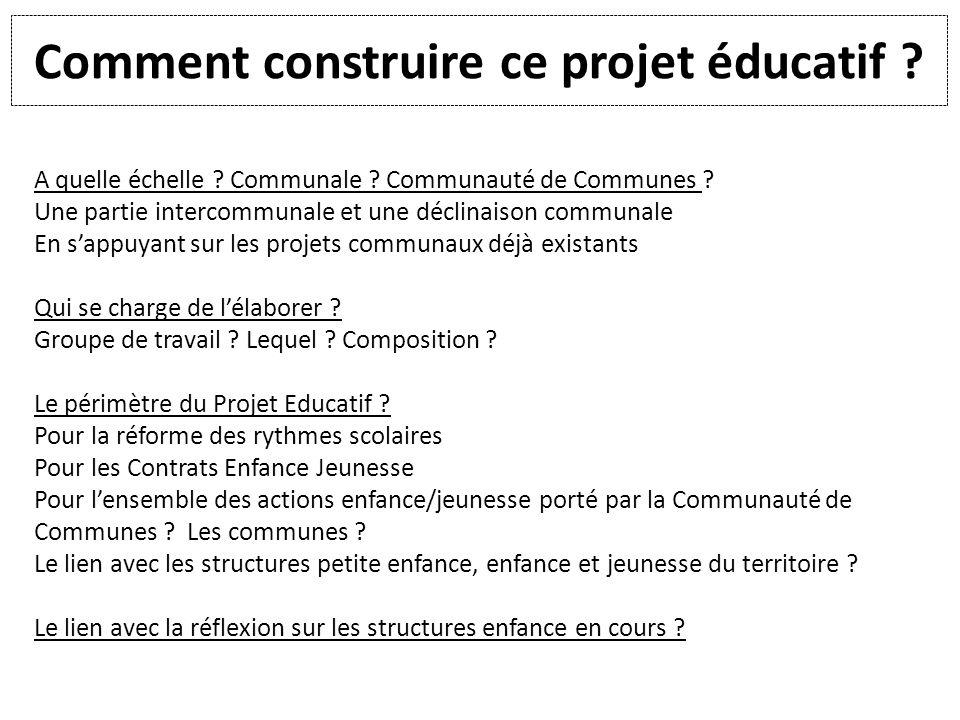 Comment construire ce projet éducatif ? A quelle échelle ? Communale ? Communauté de Communes ? Une partie intercommunale et une déclinaison communale