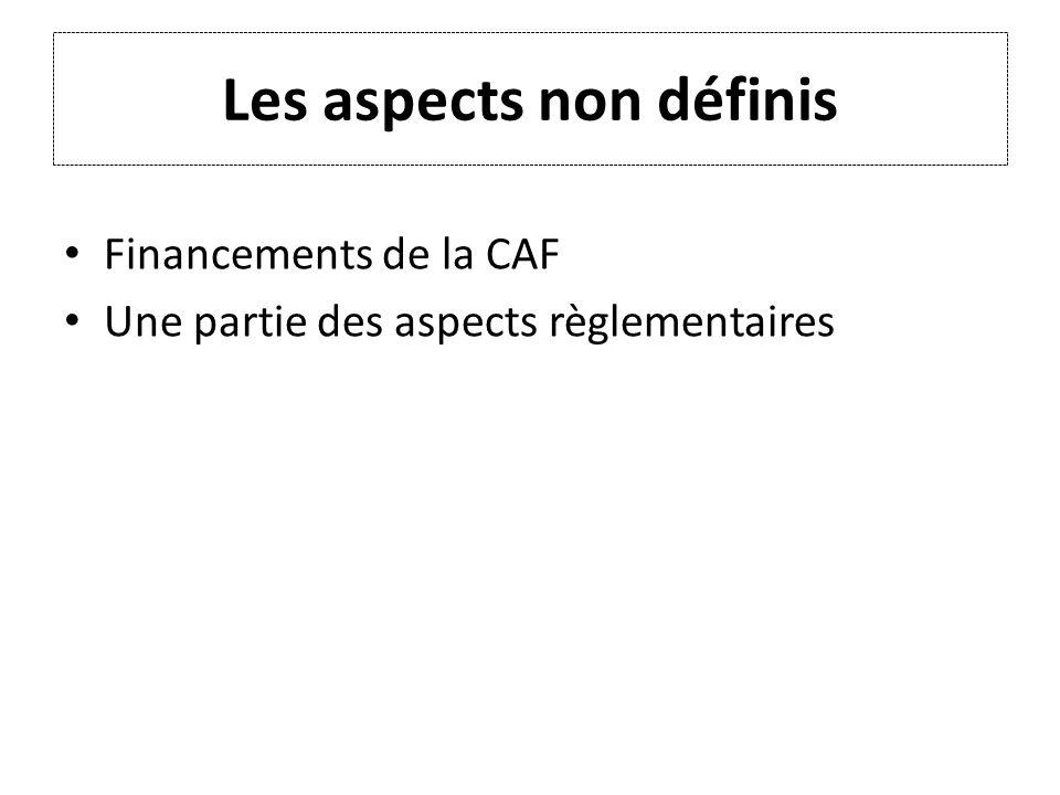 Les aspects non définis Financements de la CAF Une partie des aspects règlementaires