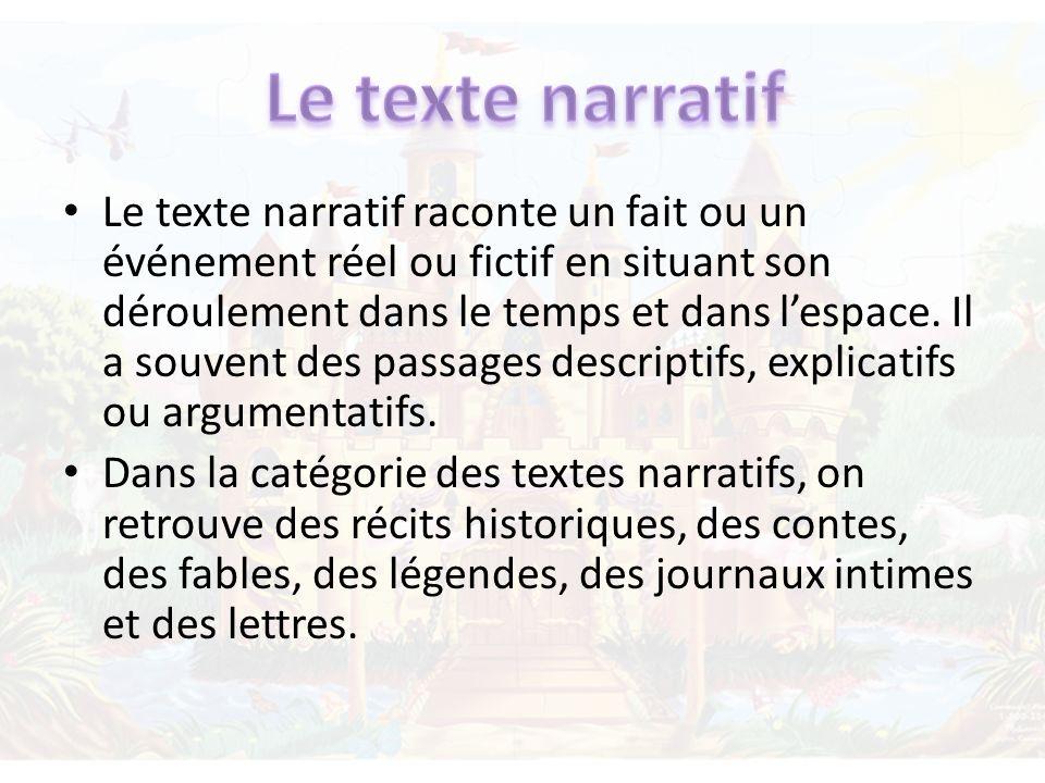 Le texte narratif raconte un fait ou un événement réel ou fictif en situant son déroulement dans le temps et dans lespace. Il a souvent des passages d