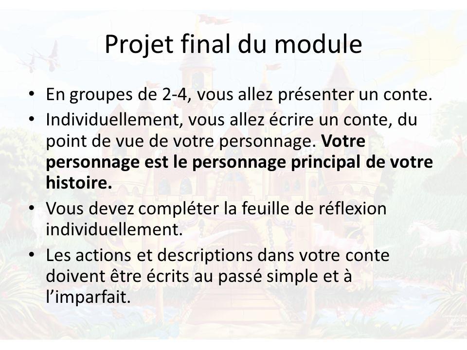 Projet final du module En groupes de 2-4, vous allez présenter un conte. Individuellement, vous allez écrire un conte, du point de vue de votre person