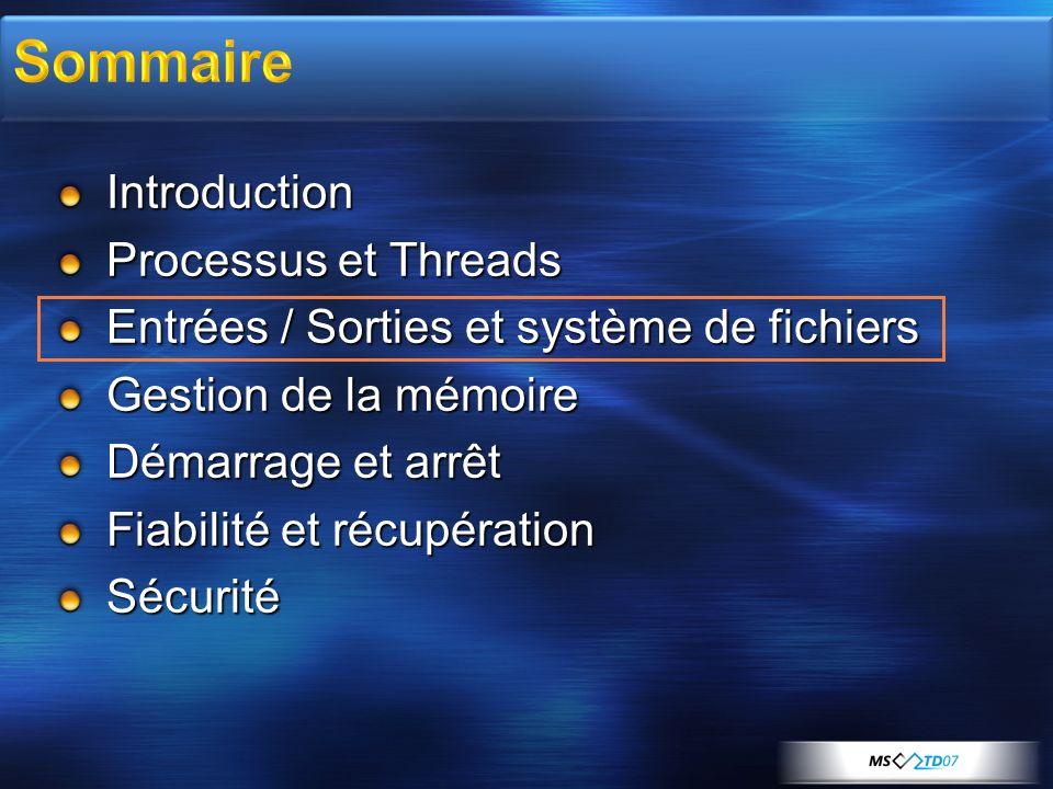 Introduction Processus et Threads Entrées / Sorties et système de fichiers Gestion de la mémoire Démarrage et arrêt Fiabilité et récupération Sécurité