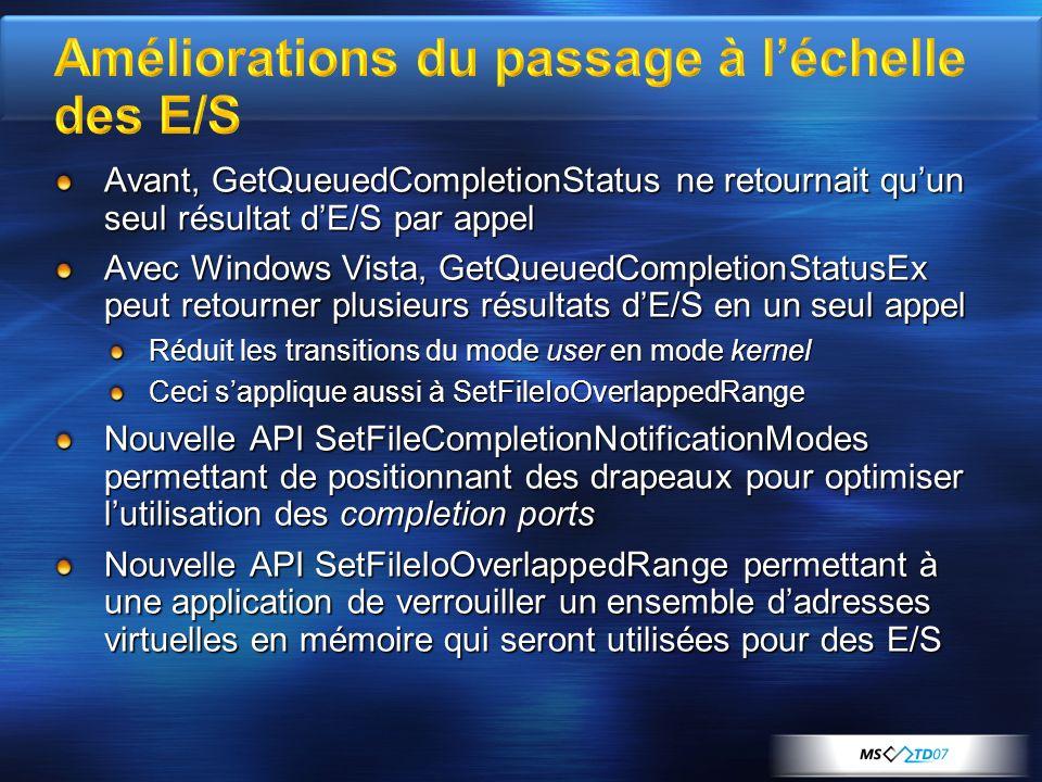 Avant, GetQueuedCompletionStatus ne retournait quun seul résultat dE/S par appel Avec Windows Vista, GetQueuedCompletionStatusEx peut retourner plusie