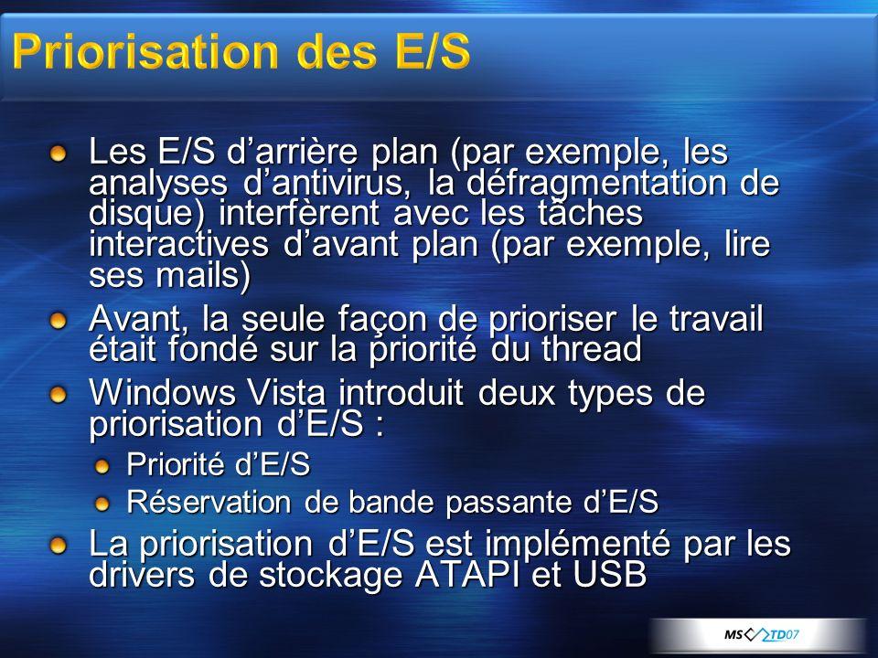Les E/S darrière plan (par exemple, les analyses dantivirus, la défragmentation de disque) interfèrent avec les tâches interactives davant plan (par e
