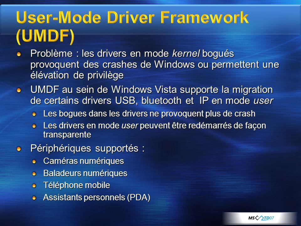 Problème : les drivers en mode kernel bogués provoquent des crashes de Windows ou permettent une élévation de privilège UMDF au sein de Windows Vista