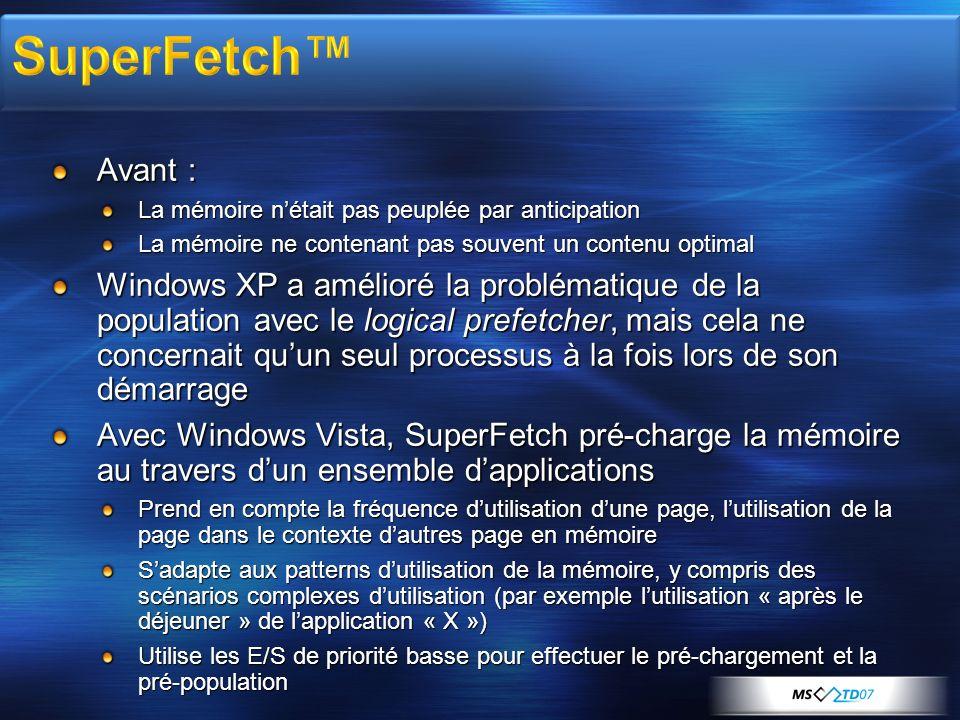 Avant : La mémoire nétait pas peuplée par anticipation La mémoire ne contenant pas souvent un contenu optimal Windows XP a amélioré la problématique d
