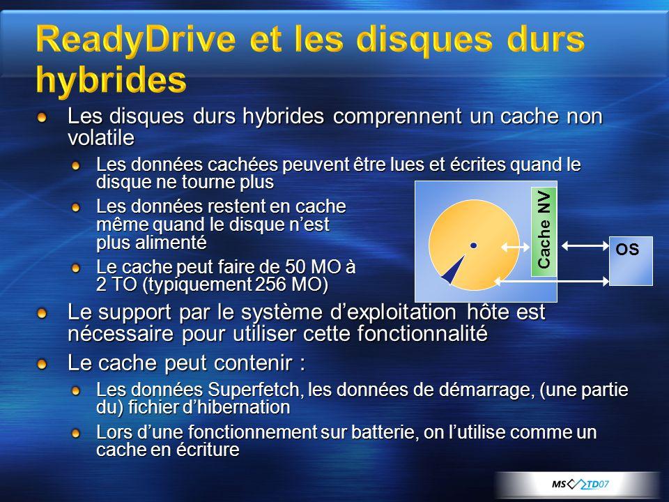 Les disques durs hybrides comprennent un cache non volatile Les données cachées peuvent être lues et écrites quand le disque ne tourne plus Les donnée