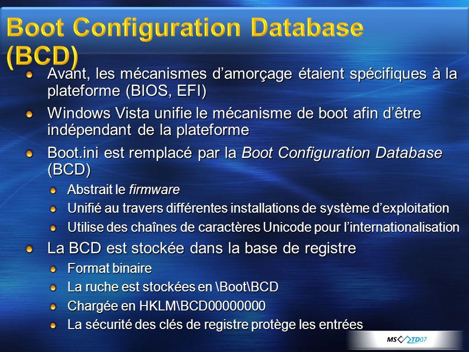 Avant, les mécanismes damorçage étaient spécifiques à la plateforme (BIOS, EFI) Windows Vista unifie le mécanisme de boot afin dêtre indépendant de la